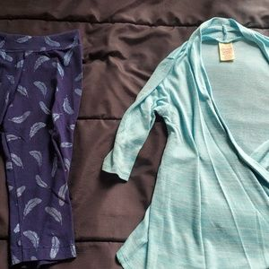girl size 7  leggings and top